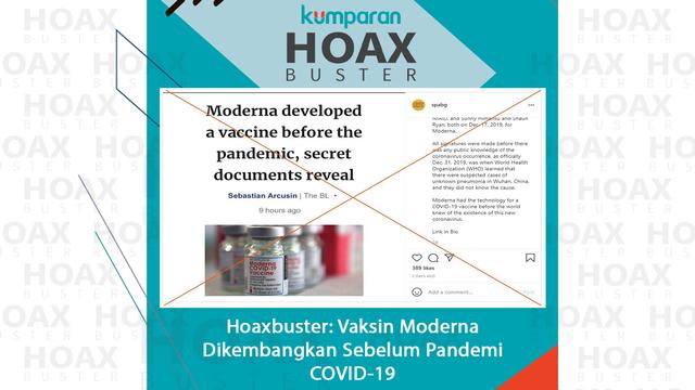 Hoaxbuster: Hoaks Vaksin COVID-19 Moderna Diproduksi Sejak Sebelum Pandemi (228297)