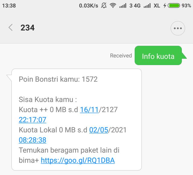 Cek Kuota Tri Lewat USSD, SMS, dan Aplikasi Bima+ (671774)