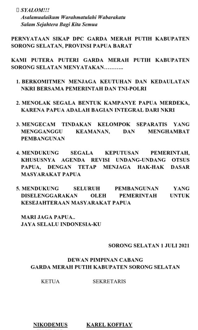 Garda Merah Putih Sorong Selatan Deklarasi Menolak Kampanye Papua Merdeka (104281)