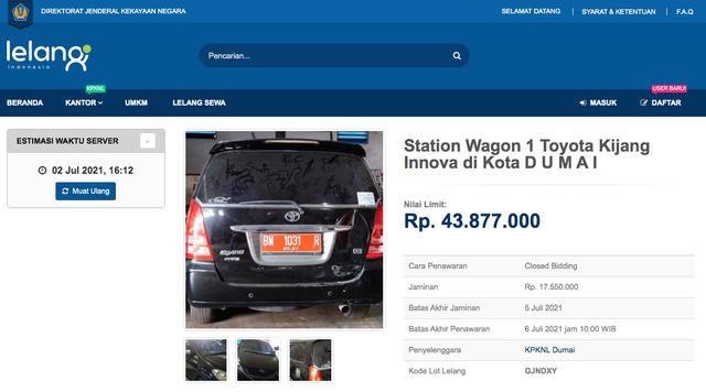 Lelang Toyota Innova Mulai Rp 43 Jutaan, Tertarik? (497396)