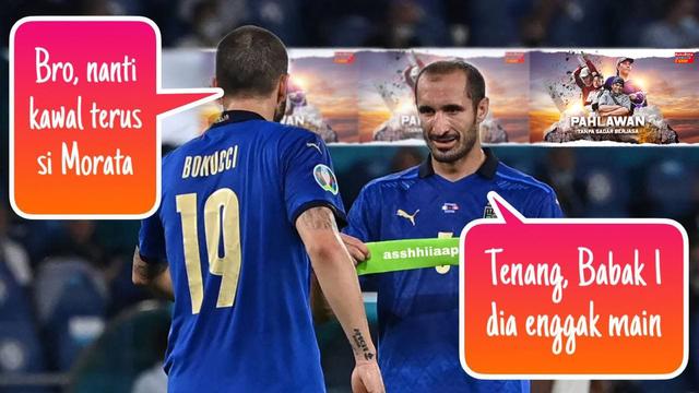 Meme Morata lawan Chiellini dan Bonucci di Euro 2020 (371244)