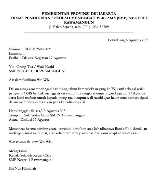 Contoh Surat Dinas Sekolah Smp Dan Format Membuatnya Kumparan Com