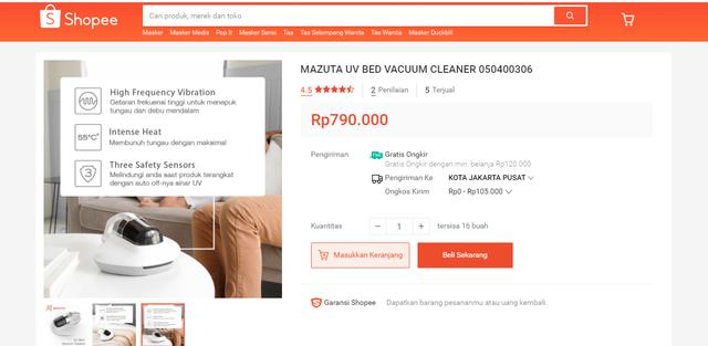 Tidur Bebas Tungau Pakai UV Bed Vacuum Cleaner, Harga Enggak Sampai Sejutaan (158342)