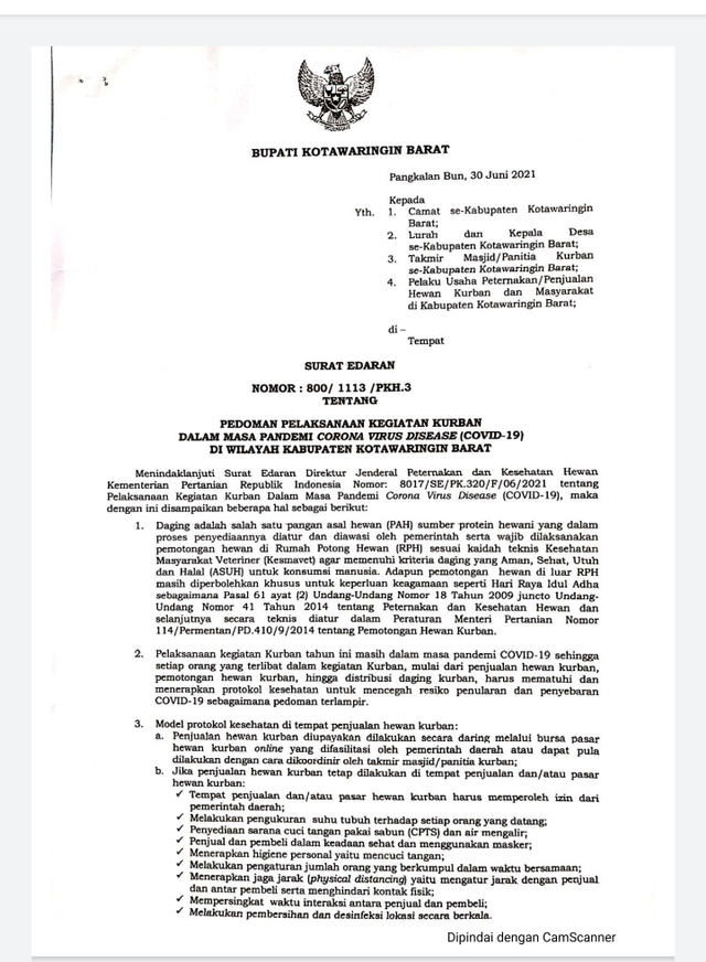 Pemkab Kobar Terbitkan Panduan Pelaksanaan Kegiatan Kurban Saat Pandemi (812682)