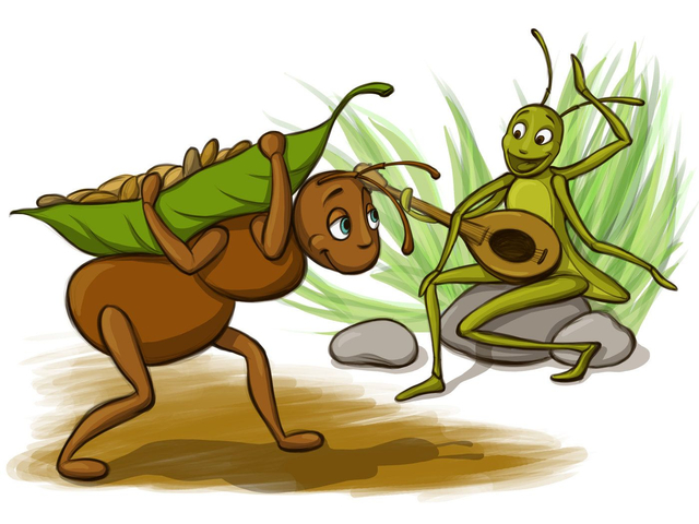 """Cerita Fabel Bahasa Inggris """"The Ant and The Grasshopper"""" (87134)"""