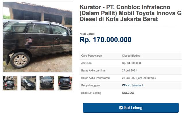 12 Unit Toyota Innova Dilelang Negara, Harga Dibuka Mulai dari Rp 11 Jutaan (30132)