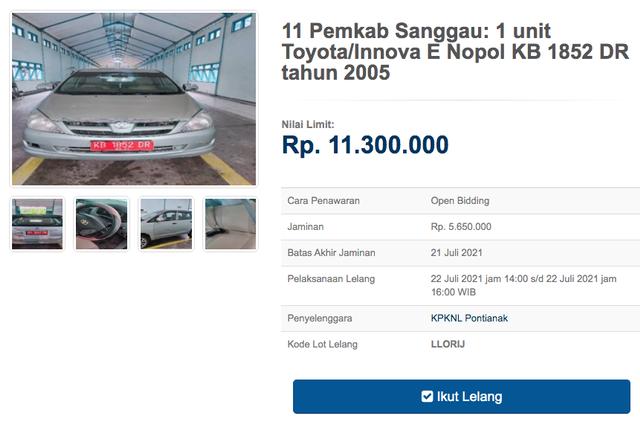 12 Unit Toyota Innova Dilelang Negara, Harga Dibuka Mulai dari Rp 11 Jutaan (30131)