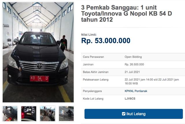 12 Unit Toyota Innova Dilelang Negara, Harga Dibuka Mulai dari Rp 11 Jutaan (30134)