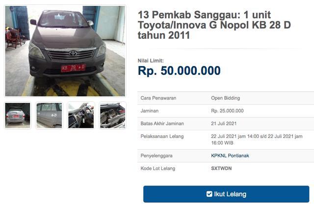12 Unit Toyota Innova Dilelang Negara, Harga Dibuka Mulai dari Rp 11 Jutaan (30133)