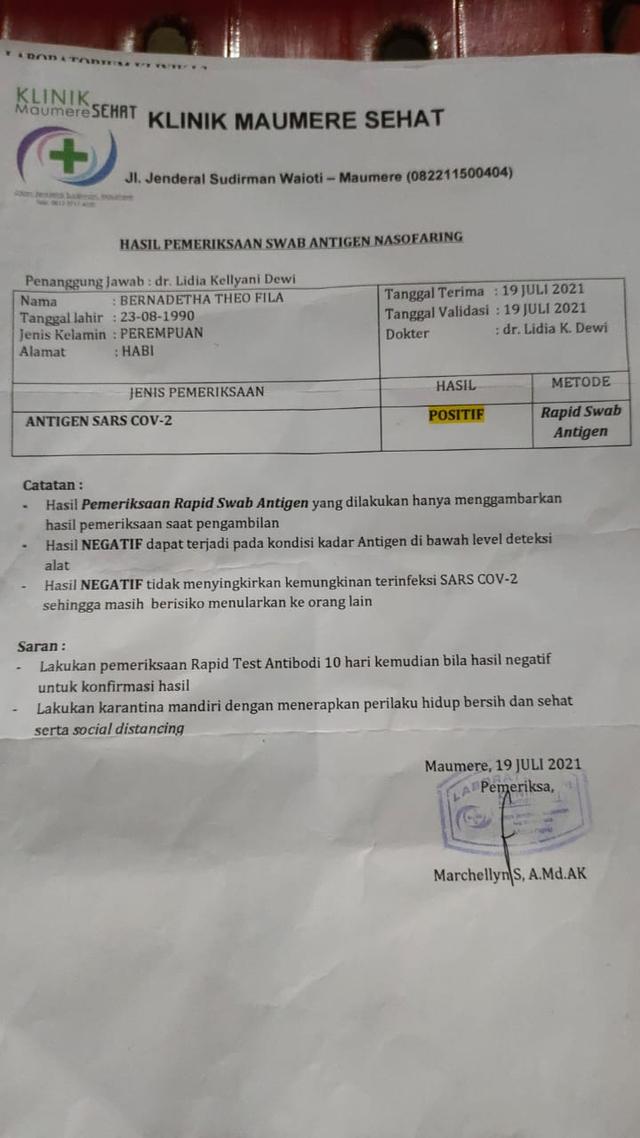 Lagi, Hasil Pemeriksaan Rapid Antigen di Sikka Berbeda dalam Sehari (2)