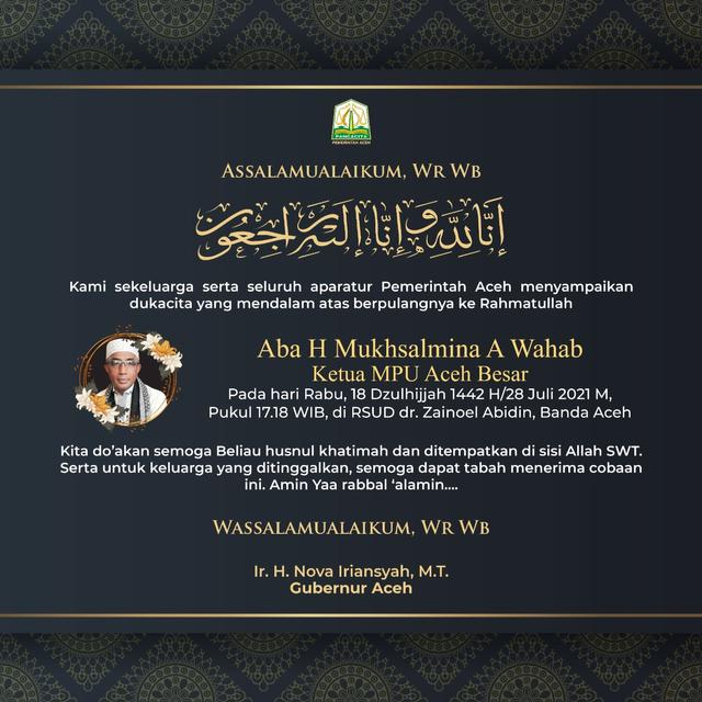 Kabar Duka, Ketua MPU Aceh Besar Meninggal Dunia (482400)