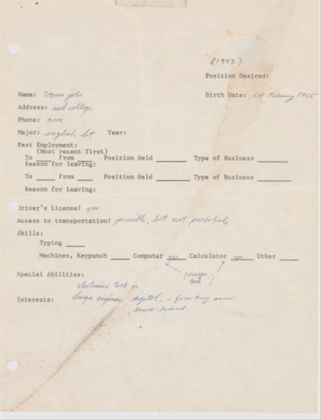 Surat Lamaran Kerja Pertama Steve Jobs Laku Rp 4 Miliar dalam Pelelangan (15136)