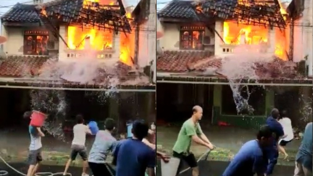 Warga Berjibaku Padamkan Api Saat Kebakaran, Pria Ember Merah Malah Bikin Emosi (6881)