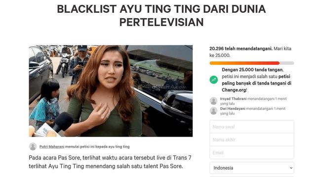Heboh Petisi Blacklist Ayu Ting Ting dari TV, Sudah Tembus 20.000 Pendukung (2)