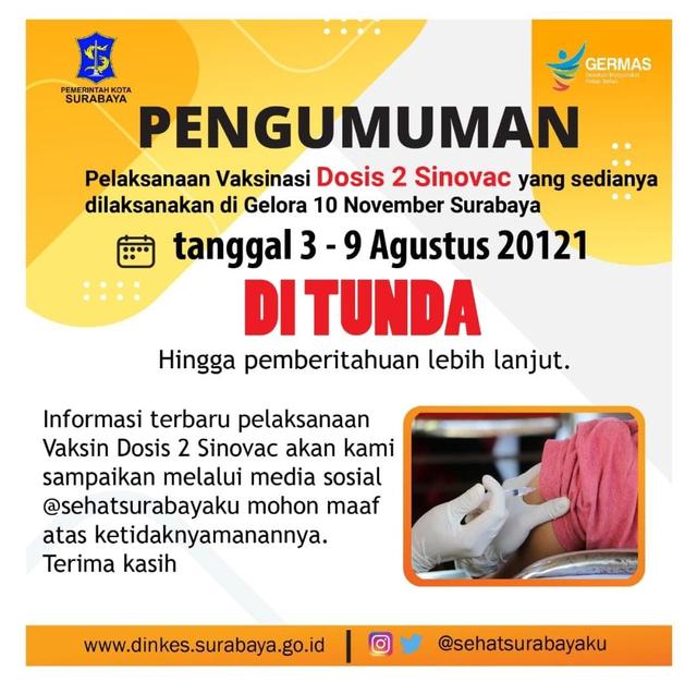 Vaksinasi 3-9 Agustus 2021 Ditunda, Stok Vaksin Dosis Kedua di Surabaya Kosong (344525)