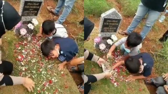 Mama Lagi Ngapain? Dialog 2 Bocah Ngajak Bicara Makam Ibunya Bikin Netizen Sedih (58731)