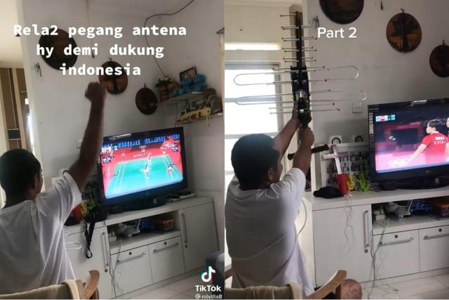 Momen Kocak Seorang Bapak Nonton Laga Greysia/Apriyani Sambil Pegang Antena TV (683689)