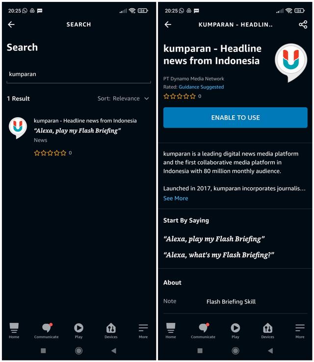 Cara Dengar Berita Suara kumparan di Platform Amazon Alexa (52377)