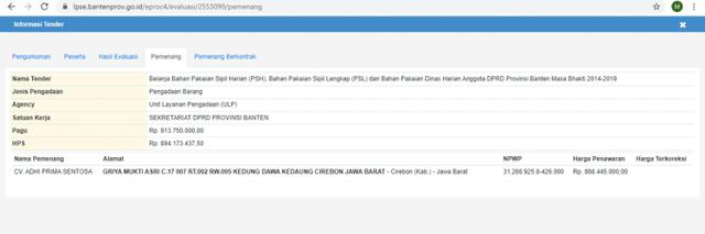 Rekam Jejak CV Adhi Prima Sentosa, Pemenang Tender Baju Dinas DPRD Tangerang (20239)