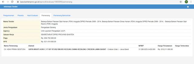 Rekam Jejak CV Adhi Prima Sentosa, Pemenang Tender Baju Dinas DPRD Tangerang (20238)