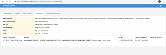 Rekam Jejak CV Adhi Prima Sentosa, Pemenang Tender Baju Dinas DPRD Tangerang (20240)