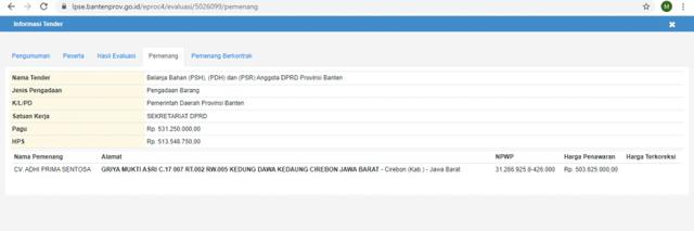 Rekam Jejak CV Adhi Prima Sentosa, Pemenang Tender Baju Dinas DPRD Tangerang (20241)