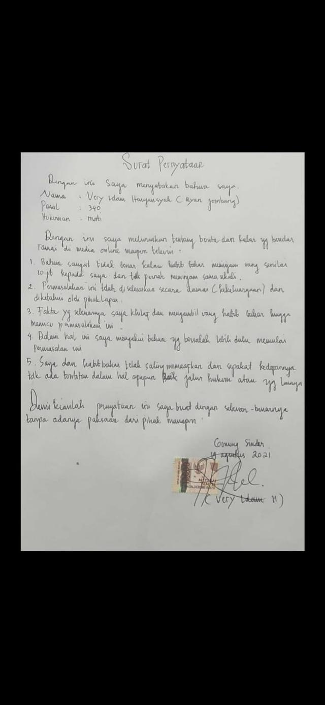 Beredar Surat 'Damai' Pernyataan Ryan Jombang usai Berselisih dengan Habib Bahar (17408)