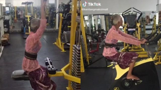 Heboh Video Nenek-nenek Nge-Gym Sendirian Pakai Kebaya (203791)