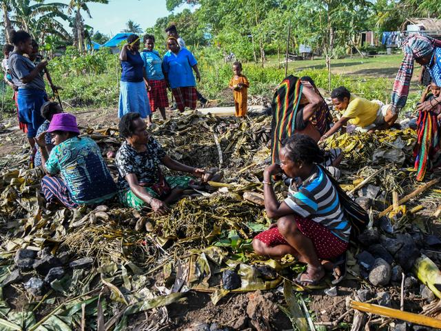 Foto: Pesta Bakar Batu Usai Tim Sepak Bola Putri Papua Sabet Emas PON (49068)
