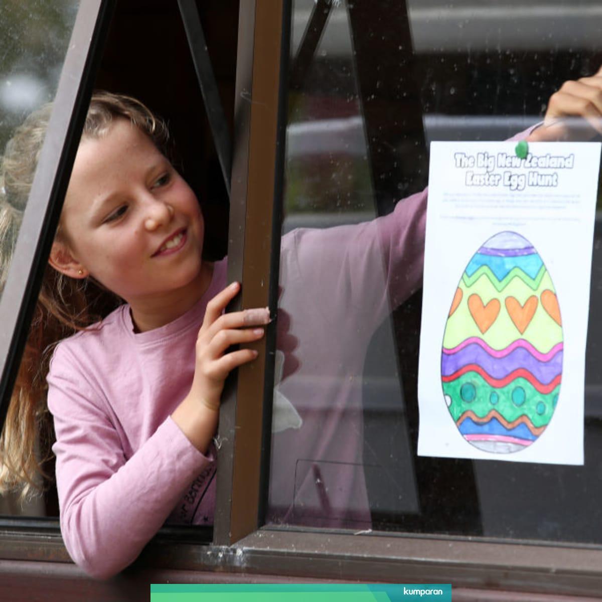 Foto Cara Baru Berburu Telur Paskah Ala Anak Anak Di
