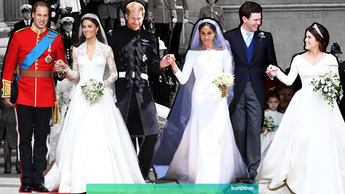 Pilih Mana: Gaun Pengantin Kate, Meghan, atau Putri Eugenie