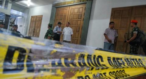 Suasana Gereja Bedog pasca penyerangan