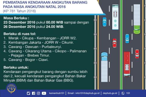 Informasi Pembatasan Kendaraan Angkutan Barang di Masa Angkutan Natal 2016