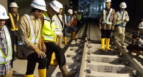 Sandiaga Uno meninjau MRT Stasiun Bundaran HI