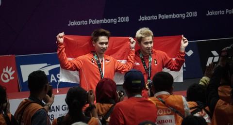 Kevin dan Marcus, Podium, Asian Games, Bulu Tangkis