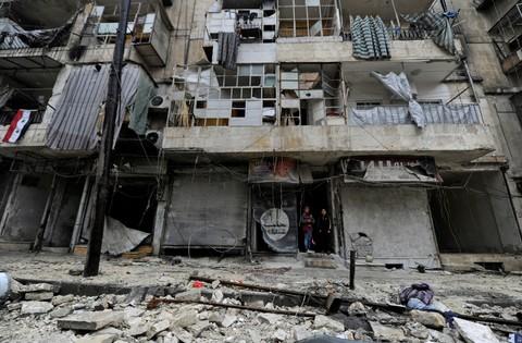 Kehancuran di kota Aleppo, Suriah
