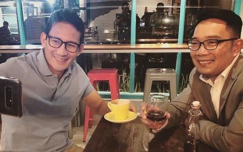 Sandiaga Uno ngopi bareng Ridwan Kamil