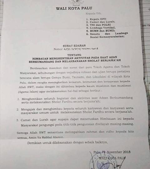 Surat edaran imbauan Wali Kota Palu untuk warga muslim hentikan aktivitas saat Azan (NOT COVER)