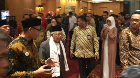 Ma'ruf Amin menghadiri acara Anugerah Syariah Republika Tahun 2018