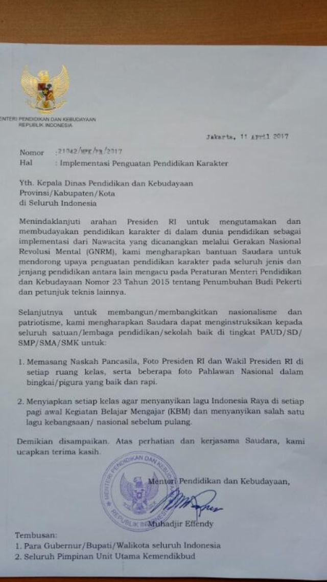 Mendikbud Minta Indonesia Raya Dinyanyikan Sebelum Belajar