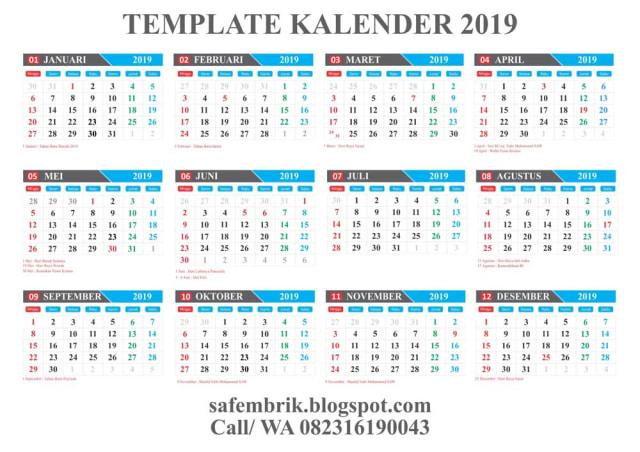Download Template Kalender 2019 Editabel Coreldraw