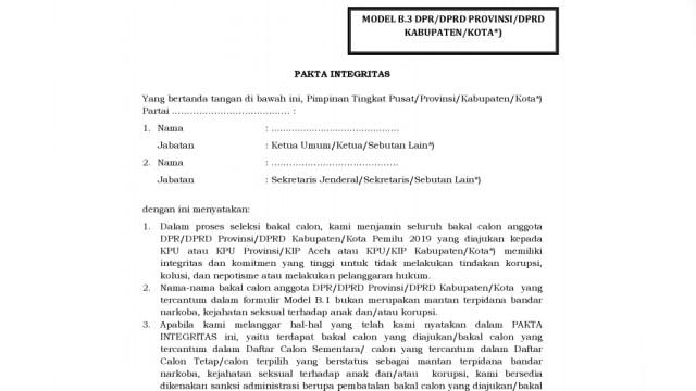 Kpu Parpol Wajib Teken Pakta Integritas Bakal Caleg Kumparan Com