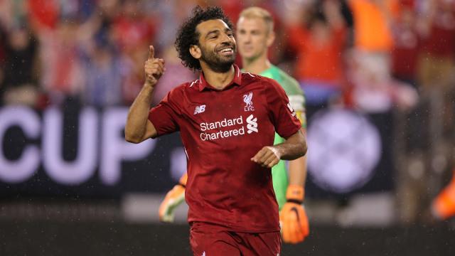 Mohamed Salah merayakan golnya ke gawang Manchester City pada ajang  International Champions Cup 2018. (Foto  Reuters Brad Penner) 99bcdda4b8