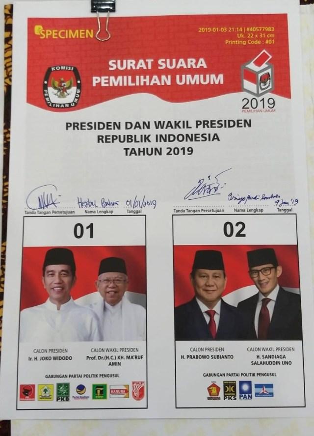 specimen surat suara pemilu 2019 referensi pemilu 2019